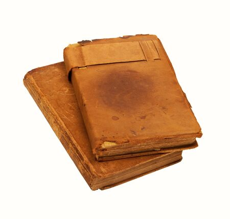 Two worn 19th century leather bound books with clipping paths Stock Photo