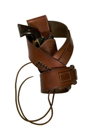 holster: Single action revolver, belt and holster with leg ties Stock Photo