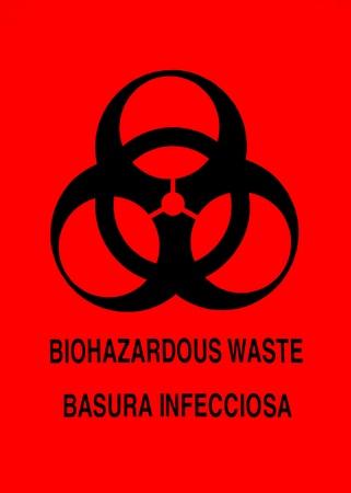 hazardous waste: Biohazard warning sign in English and Spanish Stock Photo