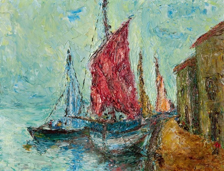 Oil and pallete knife abstract painting of an old Mediterranean seaport. photo