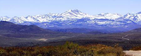 high sierra: Panorama of the High desert and Sierra Nevada mountains in early Spring Stock Photo