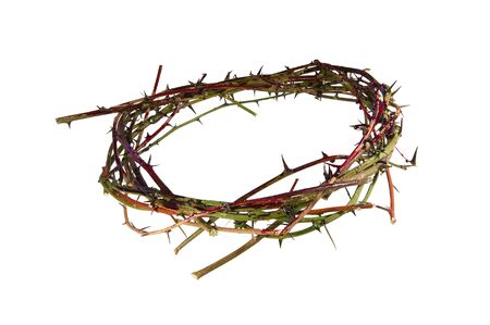 thorns  sharp: A bloody crown of thorns representative of the crown Christ wore at His crucifixation.