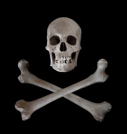Die traditionelle Gefahr und Warnzeichen eines menschlichen Sch�dels mit zwei gekreuzten Oberschenkelknochen unterhalb. Gebrauchte als Pirat Wimpel in den siebzehnten und achtzehnten Jahrhundert. Lizenzfreie Bilder