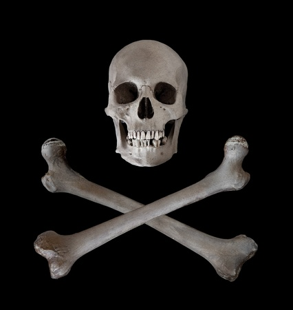 The traditional danger and warning symbol of a human skull with two crossed femur bones beneath.  Used as a pirate pennant in the seventeenth and eighteenth centuries. Stock Photo - 13160251