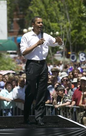 obama: Barak Obama giving a campaign speech in Reno, Nevada.