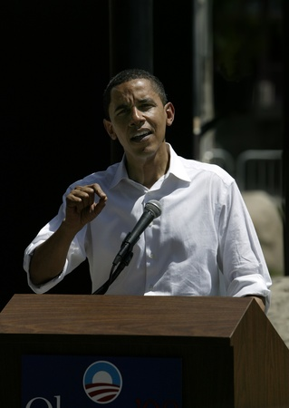 obama: Barak Obama giving a press conference in Reno following a campaign rally and speech