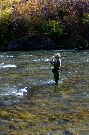 fly fishing: Fall fly fishing in the Truckee River near Reno, Nevada