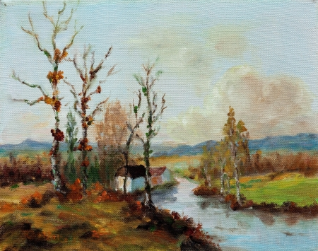 Oil on canvas impressionist landscape photo