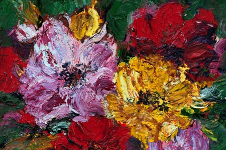 abstract flowers: Oil and Pallet knife abstract painting of red, pink and yellow flower blossoms.