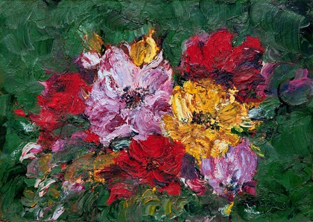 Oil and Pallet knife abstract painting of red, pink and yellow flower blossoms. Stock Photo - 14502473