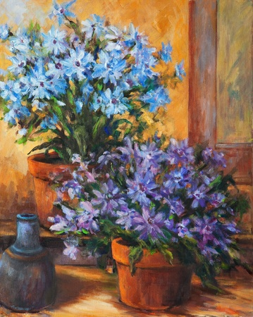 A still life oil painting of two potted flowers and a small jug. photo