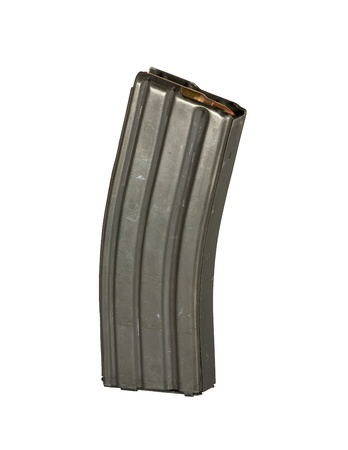 full metal jacket: A 30 round high capacity magazine for an AR-15 and AR-16 assault rifle loaded with 5 56 mm ammunition