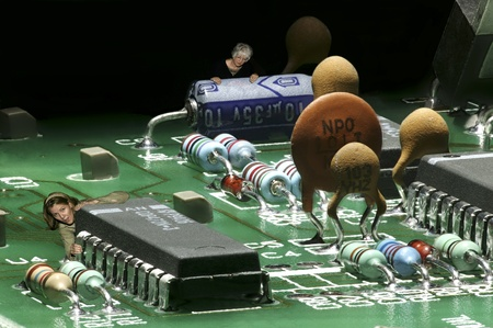 electronic: Carbon based lifeforms infesting a silicon based landscape. Stock Photo