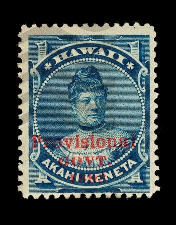 overprint: REPUBLIC OF HAWAII - CIRCA 1893- 1894  Postage stamp from the Republic of Hawaii, with the Provisional Govt  overprint, depicting Princess Likelike, used between circa 1893 - 1894  Editorial