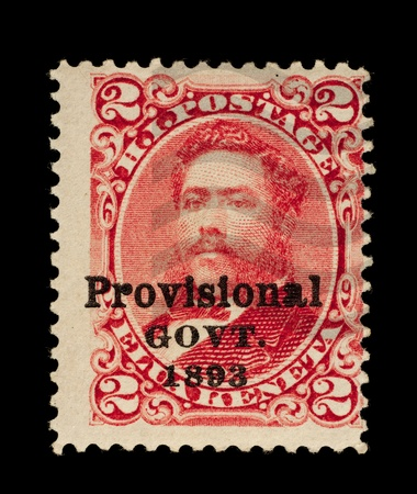 provisional: REP�BLICA DE HAWAII - alrededor de 1893 - 1894 Sello de la Rep�blica de Hawai, con la sobreimpresi�n de Gobierno Provisional, que representa a rey David Kalakaua, utilizado entre circa 1893 - 1894