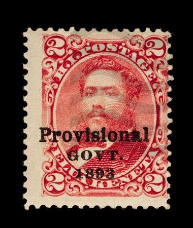 overprint: REPUBLIC OF HAWAII - CIRCA 1893- 1894  Postage stamp from the Republic of Hawaii, with the Provisional Govt  overprint, depicting King David Kalakaua, used between circa 1893 - 1894