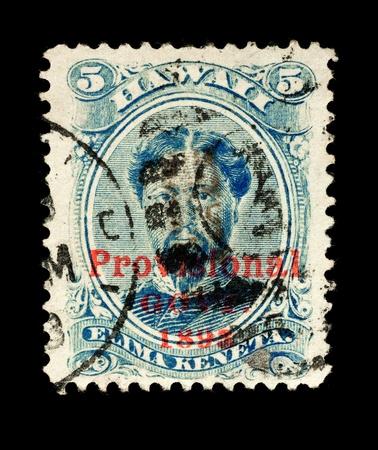 overprint: REPUBLIC OF HAWAII - CIRCA 1893- 1894  Postage stamp from the Republic of Hawaii, with the Provisional Govt  overprint, depicting King Kamehameha V , used between circa 1893 - 1894