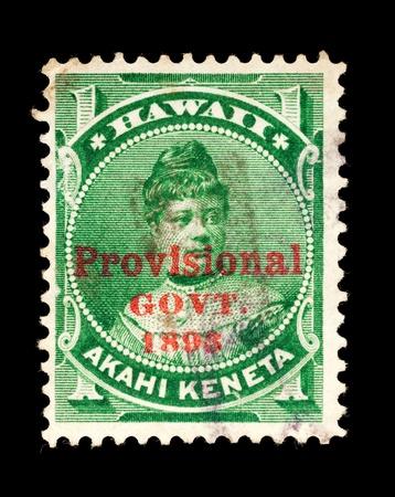 overprint: REPUBLIC OF HAWAII - CIRCA 1893- 1894  Postage stamp from the Republic of Hawaii, with the Provisional Govt  overprint, depicting Princess Likelikei, used between circa 1893 - 1894