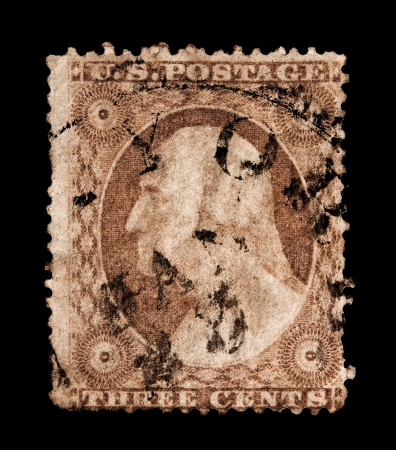 usps: USA - CIRCA 1851   A three cent postage stamp printed in the United States with an image of George Washington, circa 1851