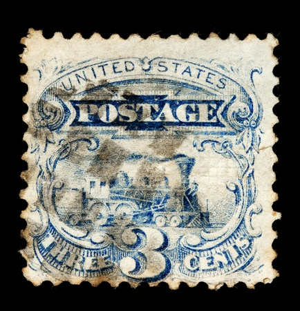 postmark: USA - CIRCA EARLY 1900  Old postage stamp depicting an early railroad engine  Editorial