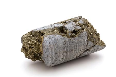 nucleo: Un taladro de la base de una mina de oro exploración minera Northen Nevada que muestra un gran depósito de cristales de pirita.