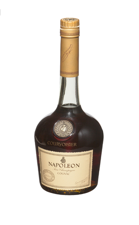 liqueur labels: RENO, NEVADA - AUGUST 14, 2014: A bottle of Courvoisier Napoleon cognac. A luxury brand of French cognac personally selected by Napoleon Bonaparte in 1811.