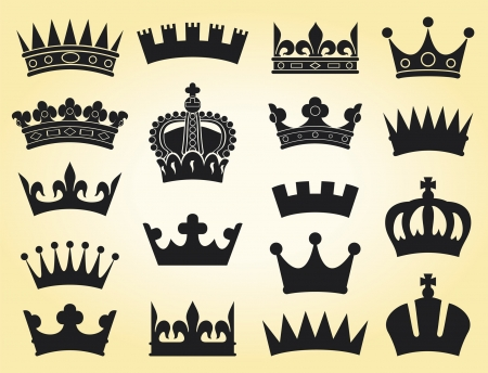 crown collection (crown set, silhouette crown set) Vector
