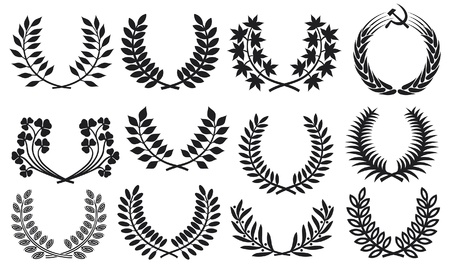 Wreath set (wreath collection, laurel wreath, clover wreath, acacia wreath, wreath of wheat and olive wreath) Vector