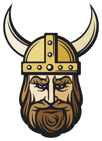 vikingo: la cabeza de vikingo (dibujos animados mascota de vikingo con casco de cuernos, con casco de vikingo)