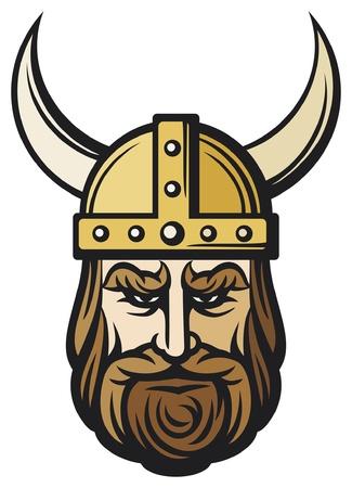 testa viking (cartone animato mascotte viking con elmo cornuto, con elmo vichingo)