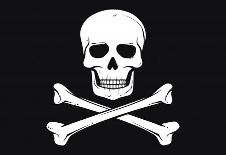 calavera pirata: pirate flag (bandera Jolly Roger pirata con calavera y huesos cruzados) Vectores