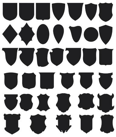 shield emblem: Nero Shields Set Vettoriali