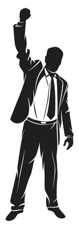 fist up: business man with arms up celebrating (successful businessman, happy businessman, business man silhouette with his arms up enjoying his success)