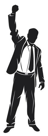 bras lev�: homme d'affaires avec les bras f�te (homme d'affaires prosp�re, heureux homme d'affaires, homme d'affaires silhouette avec ses bras en l'air jouir de son succ�s)