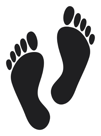 barefoot walking: foot prints (two black man footprints)