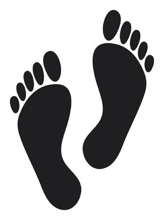 kale: voetafdrukken (twee zwarte man voetafdrukken)