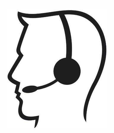 headset business: cuffia simbolo (cuffia uomo, call center icona, faccia con l'auricolare, operatore di telefonia supporto auricolare, assistenza clienti uomo)