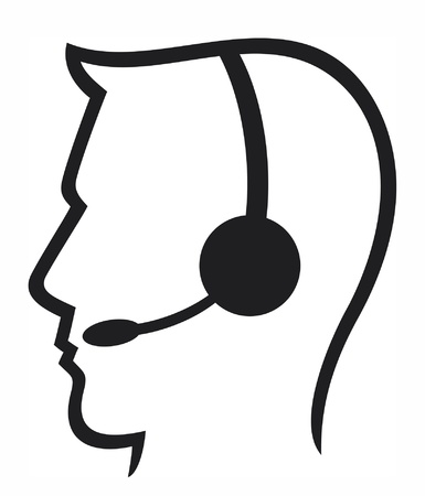 call center office: headset symbol (man headset, call center icon, face with headset, support phone operator in headset, man customer support)