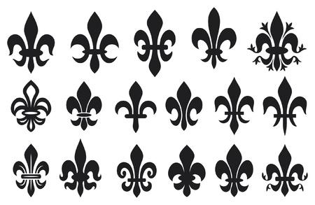 giglio: giglio, fiore - simbolo araldico fleur de lis (giglio reale francese simboli per la progettazione e decorare, Fiori di giglio di raccolta, set fiori di giglio)