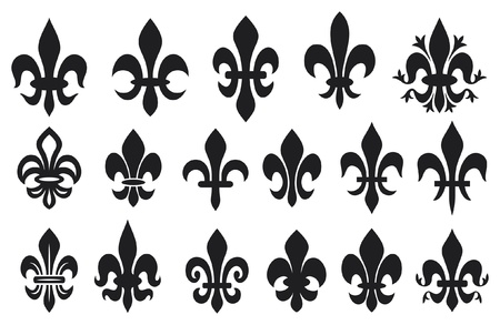 lily flower - heraldic symbol fleur de lis (royal french lily symbols for design and decorate, lily flowers collection, lily flowers set) Vector
