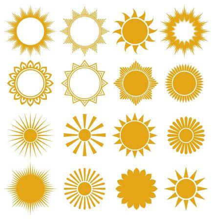 słońce: słońca - elementy projektowania (zestaw wektora słońca, kolekcja słońca) Ilustracja