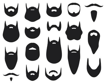 Ensemble de silhouettes de barbe (collection de la barbe) Vecteurs