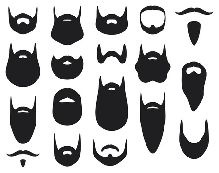 Set of beard silhouettes (beard collection) Vector