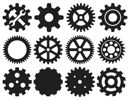 gear collection machine gear (wheel cogwheel vector, set of gear wheels, collection of vector gear) Vector