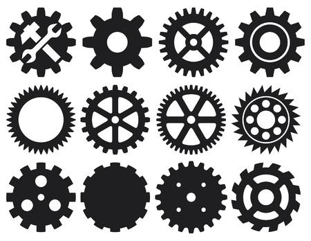 tandwielen: versnelling collectie machine versnelling (wiel tandwiel vector, set van tandwielen, verzameling van vector versnelling)