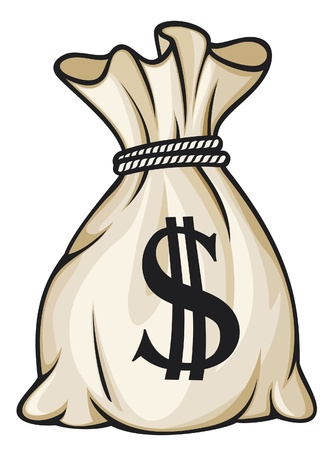 Money bag with dollar sign vector illustration Illustration
