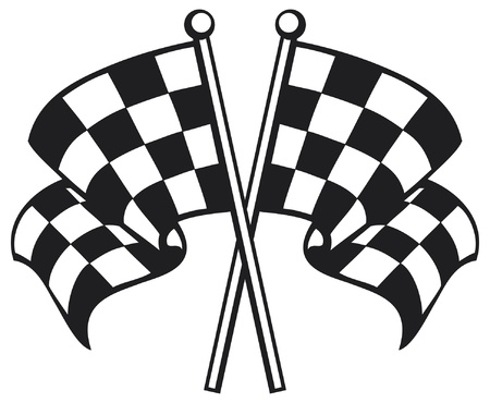 two crossed checkered flags (racing checkered flag crossed, finishing checkered flag, finish flags) Vector