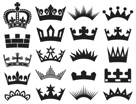 royal person: crown collection (crown set, silhouette crown set) Illustration