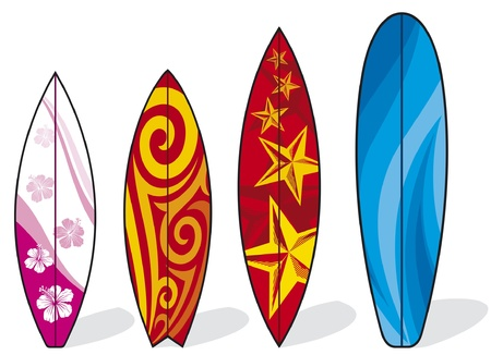 red hibiscus flower: set of surfboards (surfboards collection, surf board illustration) Illustration