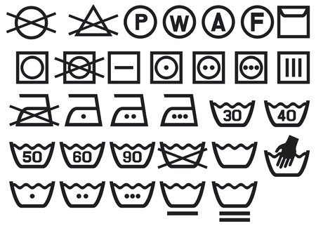istruzione: Set di simboli di lavaggio (lavaggio simboli informativi, candeggio e stiratura di istruzioni, icona Lavare a secco) Vettoriali